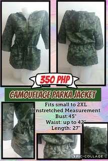 Womens camouflage parka jacket