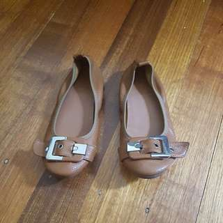 Brown elastic ballet flats with buckle detail size6