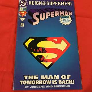 Superman Vol 2 78 / 3rd in the Reign of the Supermen arc  die cut cover #comics #superman