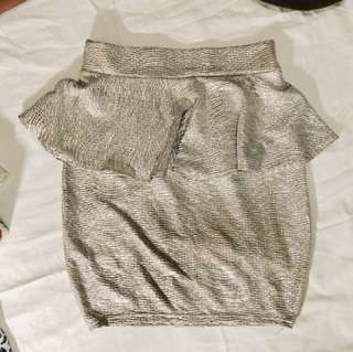 Gold Peplum Skirt
