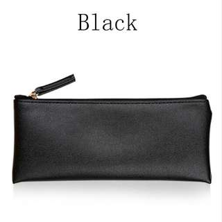[1 in stock] Black PU Leather Pencil Case Cosmetic Pouch