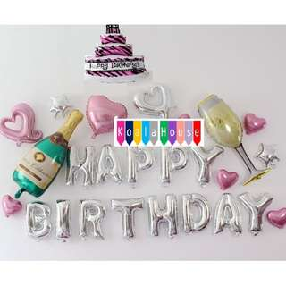 A3: Happy Birthday Champagne, Glass and Cake Party Decor Theme Set (Silver)