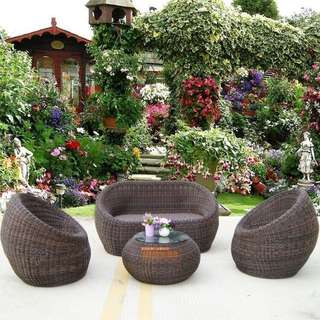 OUTDOOR FURNITURE: PE Rattan Woven Sofa Set.