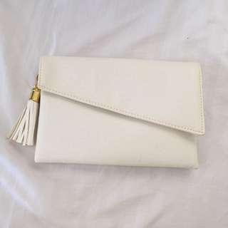 White Clutch with Tassel