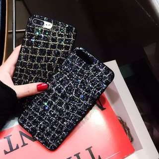 Luxury iPhone cases 6/7/8/X sparkling glitter black starry