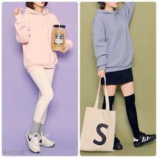 淨色連帽衛衣(Grey/Black/Navy/Beige/Khaki/Sora/Ivory/Pink/Brown)