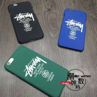 stussy matte iPhone cases black green blue
