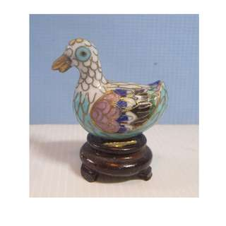 Vintage cloisonne duck hand made in Beijing circa1960s with stand