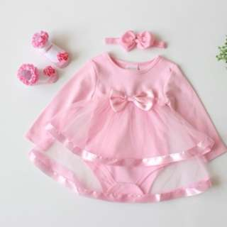 66221 Baby Bow Long-sleeved Romper Dress