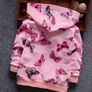 86306 Butterfly Long-sleeve Sports Zipper Hooded Shirt