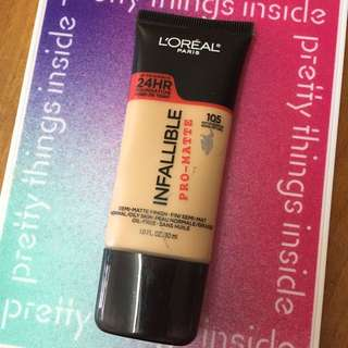 L'oreal Infallible Pro-matte 24 hr foundation # 105 #自然色
