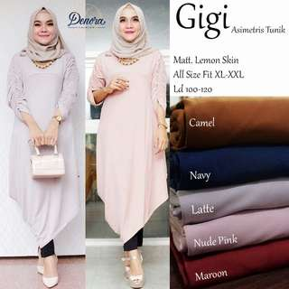 Baju wanita blouse tunik gigi asimetris muslim lucu modern modis keren