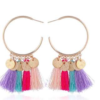 Round shape tassel earrings multi colour