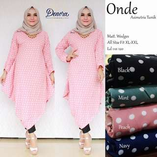 Baju wanita blouse tunik onde asimetris muslim unik modis lucu modern