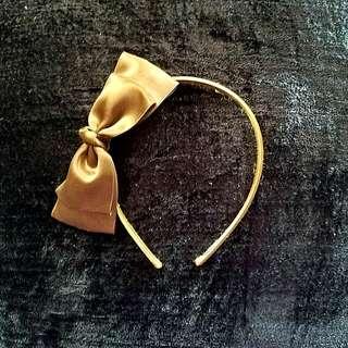 Evita Peroni Brown Silk Bow Headband