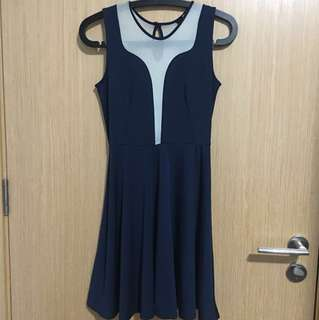 Navy Blue Dress with Cream Mesh Detail