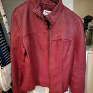 Genuine red leather jacket size 10