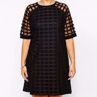 Plus Size Checkered Pattern O Neck Sheer Mesh Shirt Dress