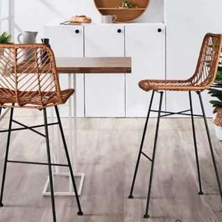 2 Outdoor PE Wicker bar stools