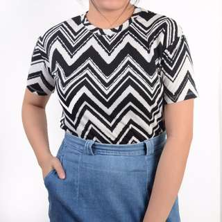 Patterned B&W Boxed Top