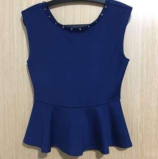 F21 Navy Blue Peplum Top with Sliver Studs
