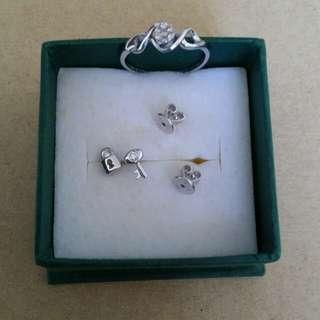 My jewelry 碎鑽介指+小鑽耳環