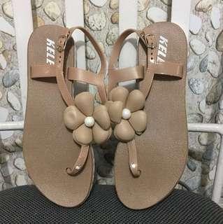 Light Brown/Beige Floral Sandals