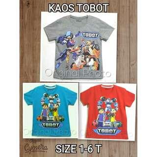 Kaos Anak Moti Tobot 1-6 T | Kaos anak Laki-laki | Baju anak laki-laki