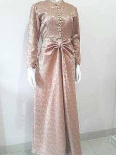 Party dress jaquard warna tembaga glitter