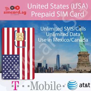 🇺🇸 USA Prepaid SIM Card (Unlimited Data & Local Calls, 7/15/30 Day Plans)