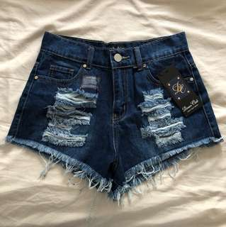 NEW with tags high waisted denim blue shorts hot pants distressed denim farm blue