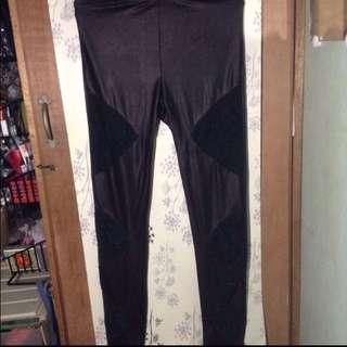 Black Lace & Leatherette Leggings