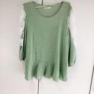 🚚 粉綠上衣蕾絲透視袖修飾壯肩臂
