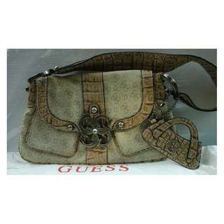 Guess Original White Shoulder Bag w/ Front Symbol