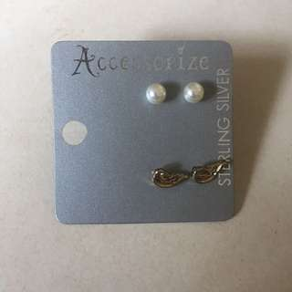 2 pairs of accessorize earrings (with packaging)