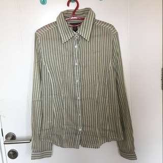 Mango green stripes shirt