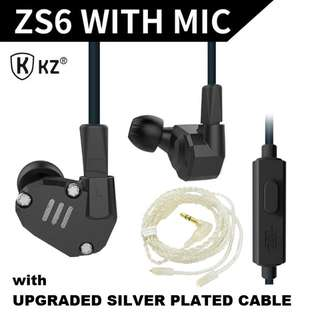 KZ ZS6 with MIC and Silver Plated Cable