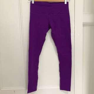 As New Lorna Jane mid waist purple full length workout my yoga running pants leggings xs grape