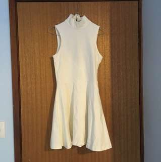 White turtleneck sleeveless a line dress