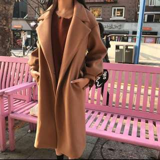 🚚 CUNZ 正韓_🇰🇷韓國連線毛呢縮袖大衣 #冬季衣櫃出清