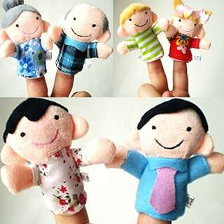 6pcs Finger Puppets Happy Family Cloth Doll Hand Cartoon