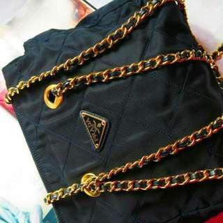 Vintage Prada 中古深藍色金鏈chain 手袋