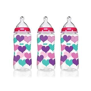 NUK Baby Bottle with Perfect Fit Nipple, 14073 Hearts, 10 Ounces, 3 Pack