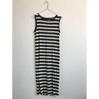 Brand New Forever 21 Black and Cream Stripe Singlet Midi Dress Size Small