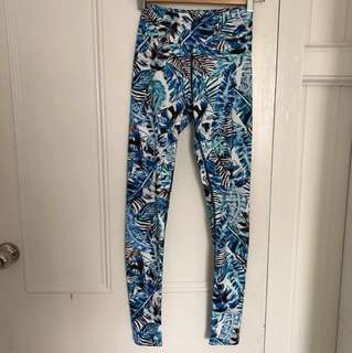 Dharma Bums high waisted print full length leggings made in Australia s 8 leaves leaf blue green gym yoga high waist