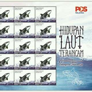 Unused Malaysia stamps sheet (Killer whale)