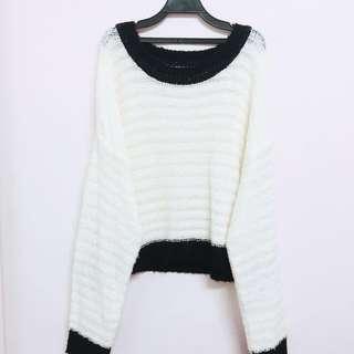 FE'CHA 黑白個性寬鬆針織毛衣 #我的女裝可超取