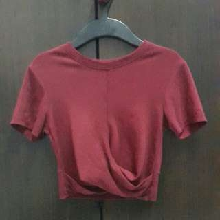 Maroon front cross crop top