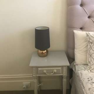 A pair of bedside table and a pair of table lamp set