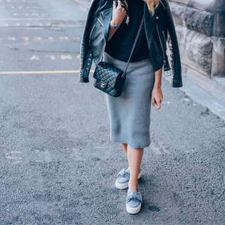 Costes knit grey pencil skirt